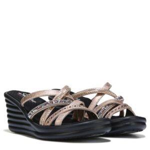 Skechers Slide Wedge Sandal Rose Gold NEW Size 11